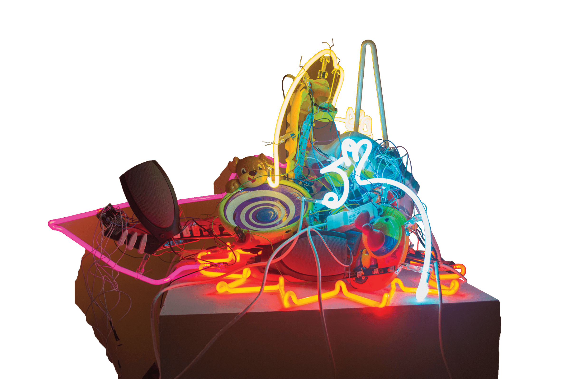 Photo of chaotic glass sculpture with neon, wires, and shapes