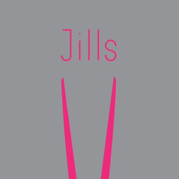 "A gray rectangle shows the pink silhouette of glassmakers' jacks. Above the silhouette is the word, ""Jills."""