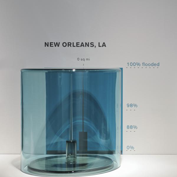 Three bluish glass cylinders on a white shelf, all the same height but different widths. Above each is the name of a city and state, and to the right are listed percentages. Inside each cylinder is a piece of glass the same width at the bottom, but that ends in a point at the top.